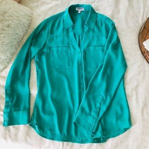 bright teal button down work shirt from Express